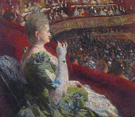 Madame Edmond Picard in the Box of Theatre de la Monnaie, 1887 by Rysselberghe | Painting Reproduction