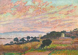 The Bay at Sunset (Saint Clair), 1916 by Rysselberghe | Painting Reproduction