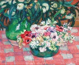 Anemones and Eucalyptus, undated by Rysselberghe | Painting Reproduction