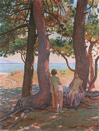 Two Bathers under the Pines by the Sea, 1925 by Rysselberghe | Painting Reproduction