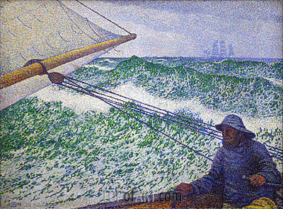 The Man at the Tiller, 1892 | Rysselberghe | Painting Reproduction
