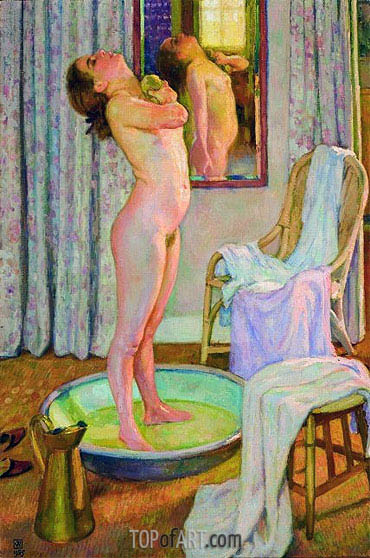 Young Girl in the Bath Tub, 1925 | Rysselberghe | Painting Reproduction