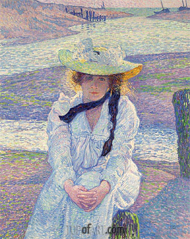 Young Woman at the Banks, 1901 | Rysselberghe| Painting Reproduction