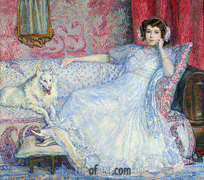 The Lady in White (Portrait of Madam Helen Keller), 1907 | Rysselberghe| Painting Reproduction
