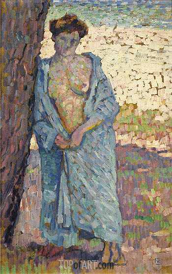 Young Woman In The Blue Peignoir, 1905 | Rysselberghe| Painting Reproduction