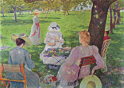 Family in an Orchard, 1890 | Rysselberghe| Painting Reproduction