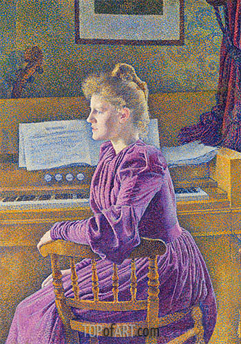 Maria Sethe at the Harmonium, 1891 | Rysselberghe | Painting Reproduction