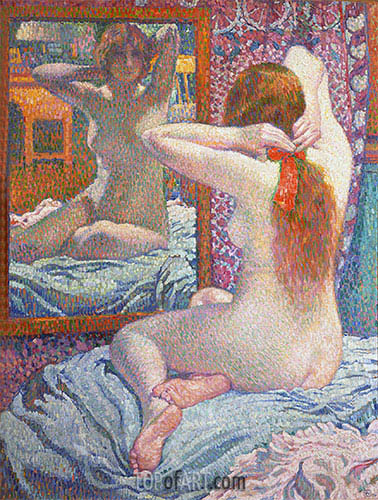 Nude Girl in Front of the Mirror, 1900 | Rysselberghe | Gemälde Reproduktion