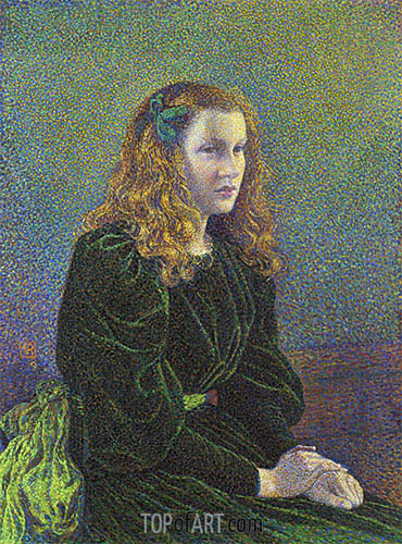 Young Woman in Green Dress (Germaine Marechal), 1893 | Rysselberghe| Painting Reproduction