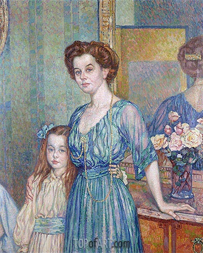 Mme Bodenhausen with a Child, 1910 | Rysselberghe| Gemälde Reproduktion