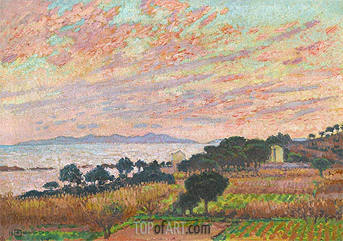 The Bay at Sunset (Saint Clair), 1916 | Rysselberghe | Painting Reproduction
