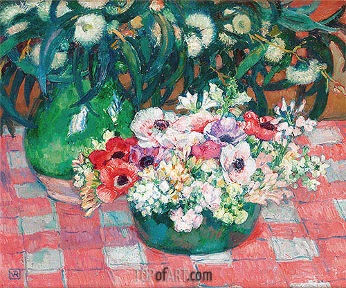 Anemones and Eucalyptus, undated | Rysselberghe| Painting Reproduction