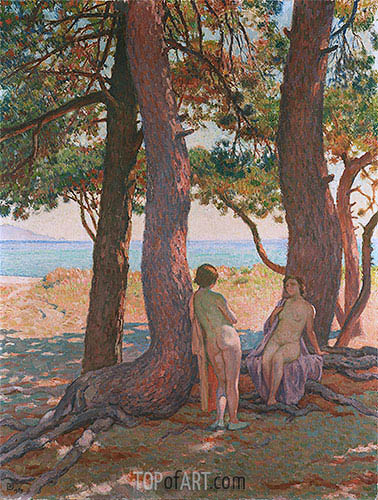 Two Bathers under the Pines by the Sea, 1925 | Rysselberghe | Gemälde Reproduktion