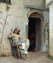 Turkish Woman Smoking (In the Courtyard), 1887 von Theodore Jacques Ralli | Gemälde-Reproduktion