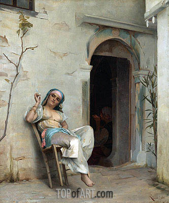 Theodore Jacques Ralli | Turkish Woman Smoking (In the Courtyard), 1887