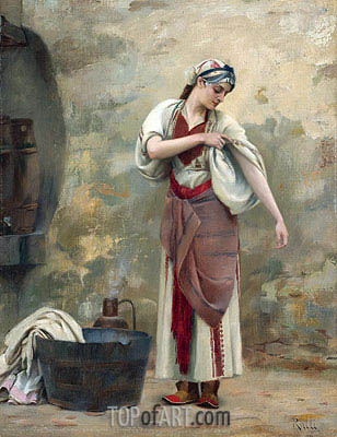 The Laundress, undated | Theodore Jacques Ralli | Gemälde Reproduktion