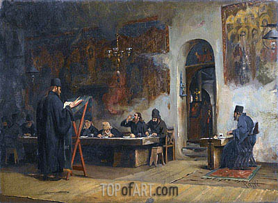 Theodore Jacques Ralli | Refectory in a Greek Monastery (Mount Athos), 1885