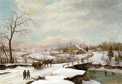 Philadelphia Winter Landscape, c.1830/45 | Thomas Birch | Painting Reproduction