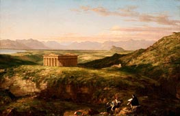 The Temple of Segesta with the Artist Sketching, c.1842 by Thomas Cole | Painting Reproduction