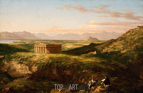 Thomas Cole | The Temple of Segesta with the Artist Sketching, c.1842