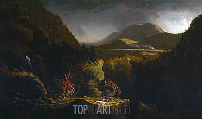 Landscape with Figures (The Last of the Mohicans), 1826 | Thomas Cole| Gemälde Reproduktion