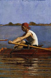 John Biglin in a Single Scull, c.1873/74 by Thomas Eakins | Painting Reproduction