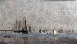 Ships and Sailboats on the Delaware, 1874 by Thomas Eakins | Painting Reproduction