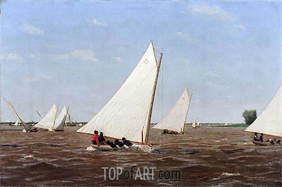 Sailboats Racing on the Delaware, 1874 | Thomas Eakins| Painting Reproduction
