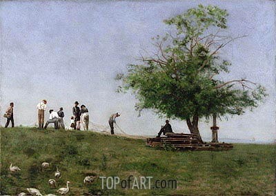Mending the Net, 1881 | Thomas Eakins| Painting Reproduction