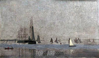 Ships and Sailboats on the Delaware, 1874 | Thomas Eakins | Painting Reproduction