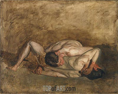 Wrestlers, 1899 | Thomas Eakins| Painting Reproduction