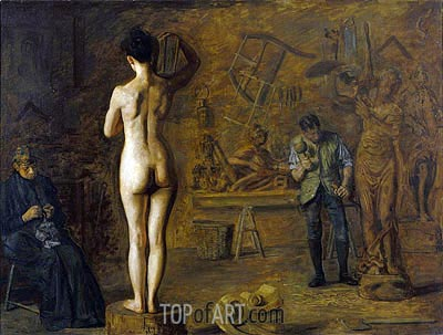 William Rush Carving His Allegorical Figure of the Schuylkill River, 1908 | Thomas Eakins| Painting Reproduction