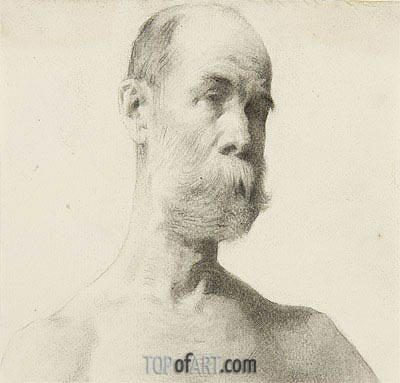 Head and Shoulders of a Bearded Man, undated | Thomas Eakins| Painting Reproduction