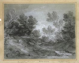 A Woodland Stream, Undated by Gainsborough | Painting Reproduction