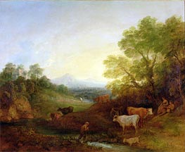 A Landscape with Cattle and Figures by a Stream and a Distant Bridge, c.1772/74 by Gainsborough | Painting Reproduction