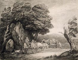 Wooded Landscape with Carts and Figures, Undated by Gainsborough | Painting Reproduction