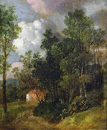 Wooded Landscape with Country House and Two Figures, c.1752 by Gainsborough | Painting Reproduction