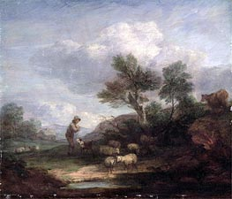 Landscape with Sheep, Undated by Gainsborough | Painting Reproduction