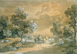An Open Landscape with Travellers on a Road, Undated by Gainsborough | Painting Reproduction