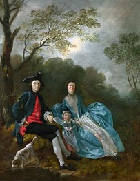 Portrait of the Artist with his Wife and Daughter, a.1748 by Gainsborough | Painting Reproduction