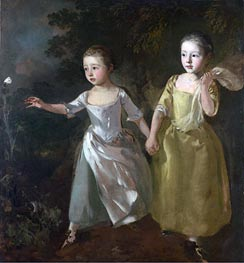 The Painter's Daughters Chasing a Butterfly, c.1756 by Gainsborough | Painting Reproduction