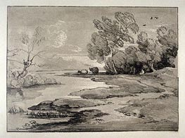Wooded River Landscape with Shepherds and Sheep, Undated by Gainsborough | Painting Reproduction