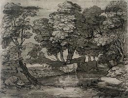 Wooded Landscape with Three Cows at a Pool, Undated by Gainsborough | Painting Reproduction