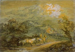 Upland Landscape with Figures, Riders and Cattle, c.1780/90 by Gainsborough | Painting Reproduction