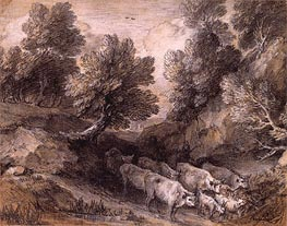 Wooded Landscape with Cattle and Goats   Gainsborough   Painting Reproduction