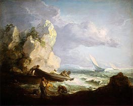 Seashore with Fishermen, c.1781/82 by Gainsborough | Painting Reproduction