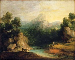 Pastoral Landscape (Rocky Mountain Valley with a Shepherd, Sheep, and Goats), c.1783 by Gainsborough | Painting Reproduction