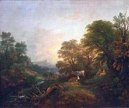 Landscape with Rustic Lovers, Two Cows, and a Man on a Distant Bridge, c.1755/59 by Gainsborough | Painting Reproduction