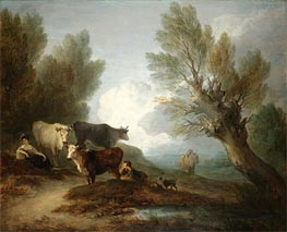 Landscape With Cattle, a Young Man Courting a Milkmaid, Undated by Gainsborough | Painting Reproduction