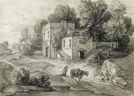 Wooded Landscape with Mansion, Figure and Packhorse, Undated by Gainsborough | Painting Reproduction